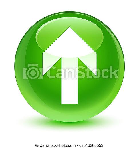 Upload arrow icon glassy green round button - csp46385553