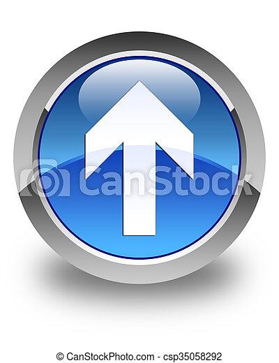Upload arrow icon glossy blue round button 3 - csp35058292