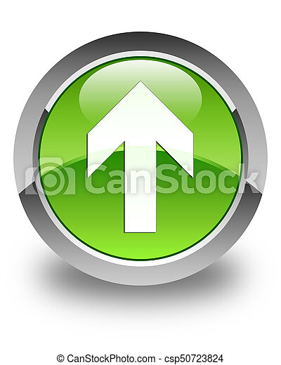 Upload arrow icon glossy green round button - csp50723824