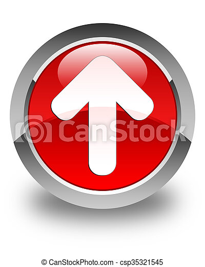 Upload arrow icon glossy red round button - csp35321545
