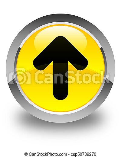 Upload arrow icon glossy yellow round button - csp50739270