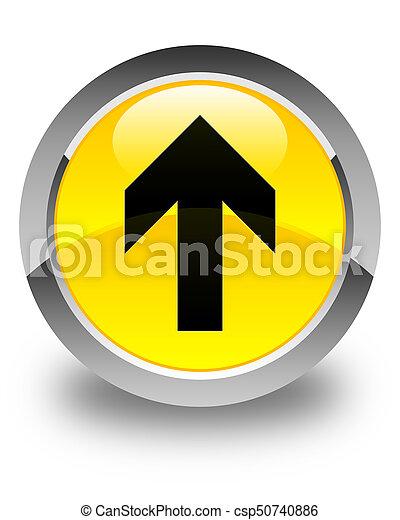 Upload arrow icon glossy yellow round button - csp50740886
