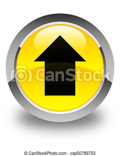 Upload arrow icon glossy yellow round button - csp50789753
