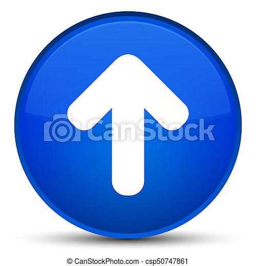 Upload arrow icon special blue round button - csp50747861
