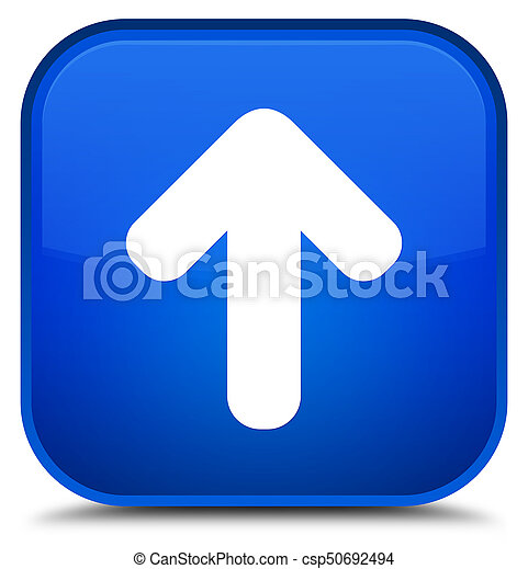 Upload arrow icon special blue square button - csp50692494