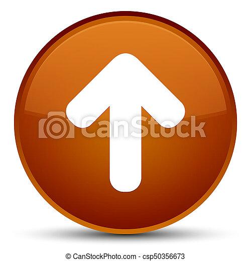 Upload arrow icon special brown round button - csp50356673