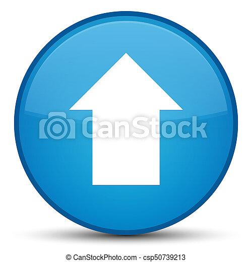 Upload arrow icon special cyan blue round button - csp50739213