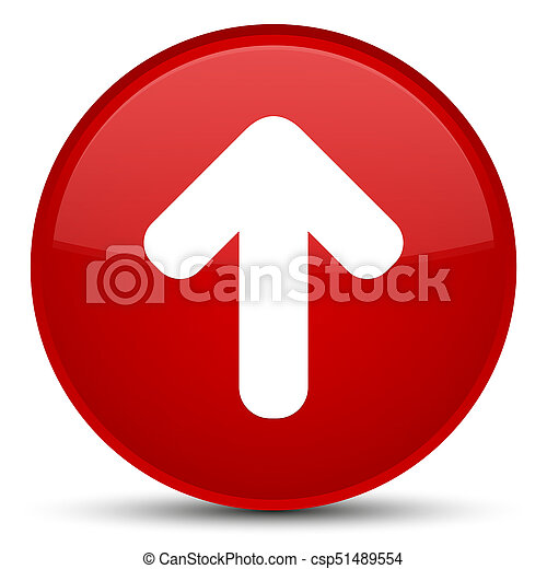 Upload arrow icon special red round button - csp51489554