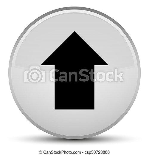 Upload arrow icon special white round button - csp50723888