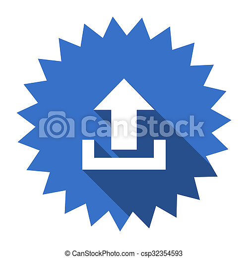 upload blue flat icon - csp32354593