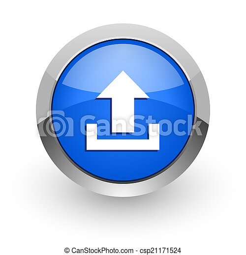 upload blue glossy web icon - csp21171524