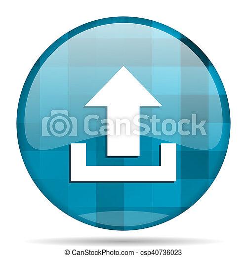 upload blue round modern design internet icon on white background - csp40736023