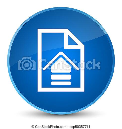 Upload document icon elegant blue round button - csp50357711