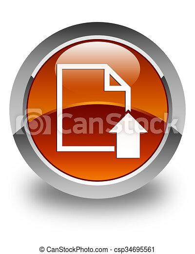 Upload document icon glossy brown round button - csp34695561