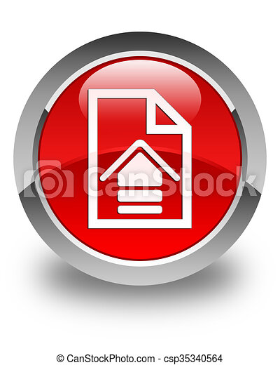 Upload document icon glossy red round button - csp35340564