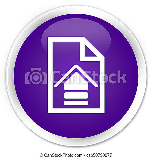 Upload document icon premium purple round button - csp50730277