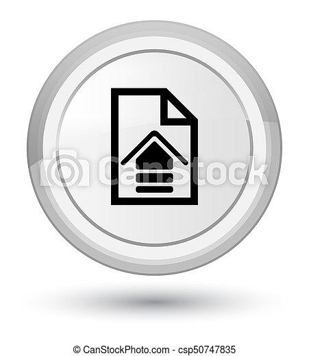 Upload document icon prime white round button - csp50747835