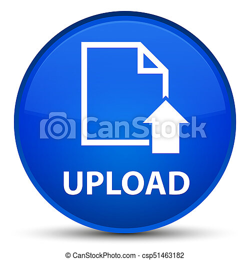Upload (document icon) special blue round button - csp51463182