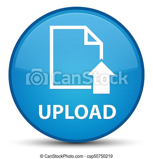 Upload (document icon) special cyan blue round button - csp50750219