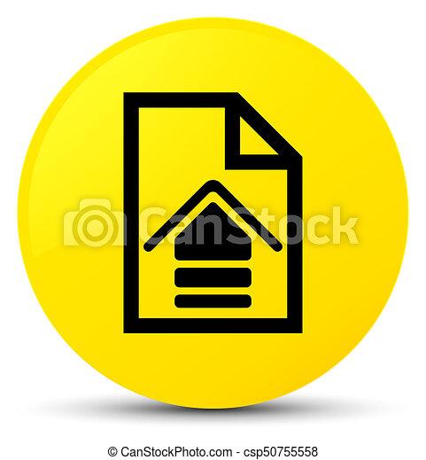 Upload document icon yellow round button - csp50755558