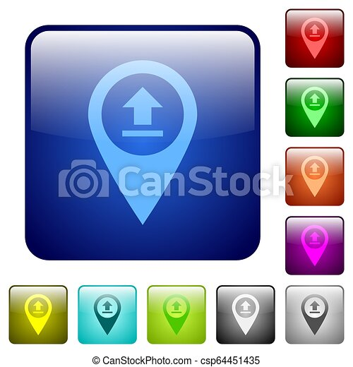 Upload GPS map location color square buttons - csp64451435