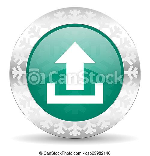 upload green icon, christmas button - csp23982146
