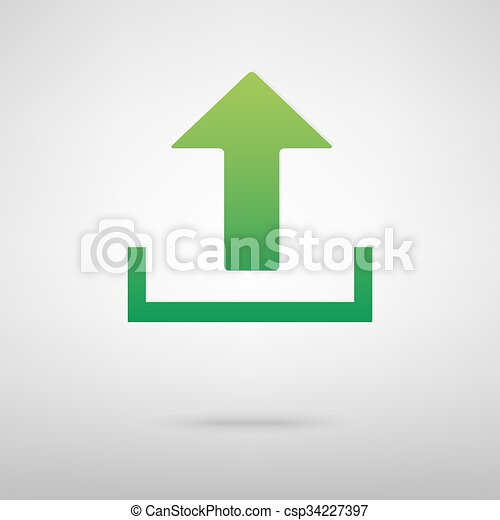 Upload green icon - csp34227397