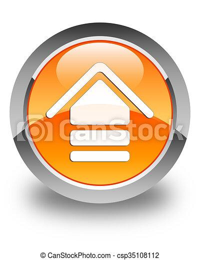 Upload icon glossy orange round button 2 - csp35108112