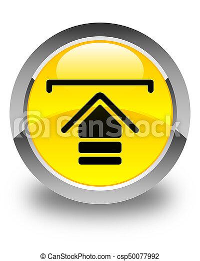 Upload icon glossy yellow round button - csp50077992