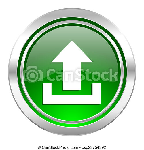 upload icon, green button - csp23754392