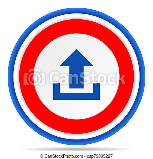 Upload round icon, red, blue and white french design illustration for web, internet and mobile applications - csp73805227