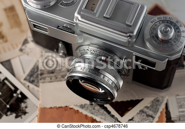 uppe., foto, kamera, gammal, nära - csp4678746