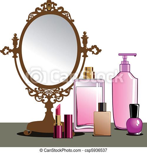 uppe, göra, spegel - csp5936537