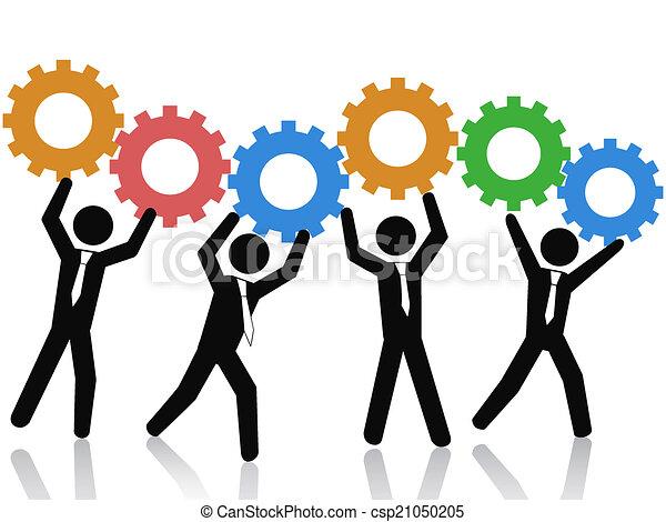 uppe, utrustar, lag, arbete - csp21050205