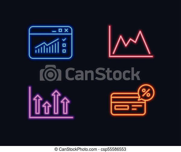 Neon Lights Set Of Upper Arrows Web Traffic And Diagram Icons
