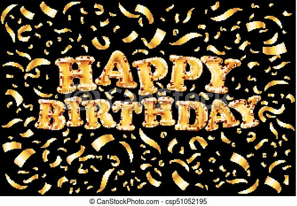 Upper Case Letters Happy Birthday From Gold Balloons Lettering On