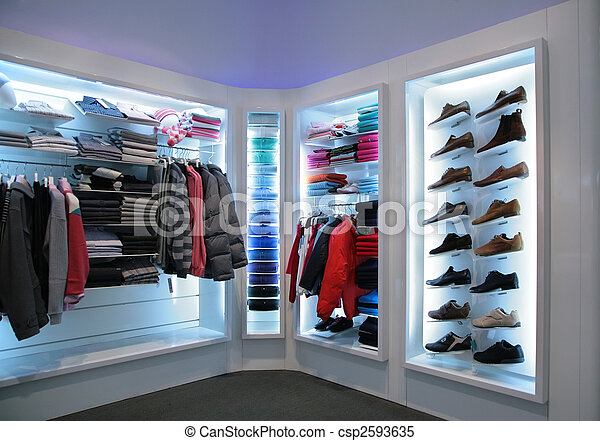 upper clothes and shoes in shop - csp2593635