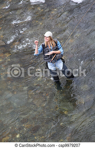 Upper view of woman fishing in river - csp9979207