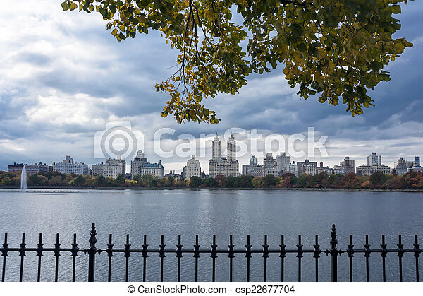 Upper West Side Skyline from Central Park, New York City - csp22677704