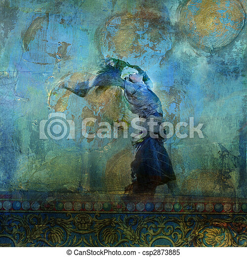 Upraised woman with colorful dress blowing on a sand dune. Moon and stars. Photo based illustration. - csp2873885