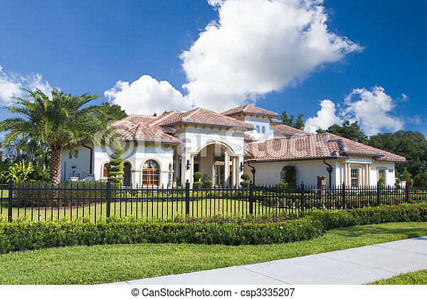 Upscale home in Central Florida with blue sky - csp3335207