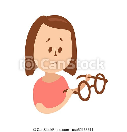 Upset girl holding glasses and looking puzzled. Isolated flat illustration on a white backgroud. Cartoon vector image. - csp52163611
