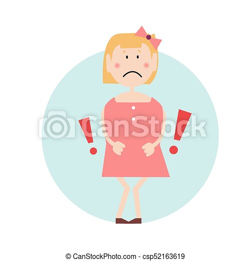 Upset girl presses hands against her stomach as if in pain. Signs of a madical condition. Exclmation marks. Isolated flat illustration on a white backgroud. Cartoon vector image. - csp52163619