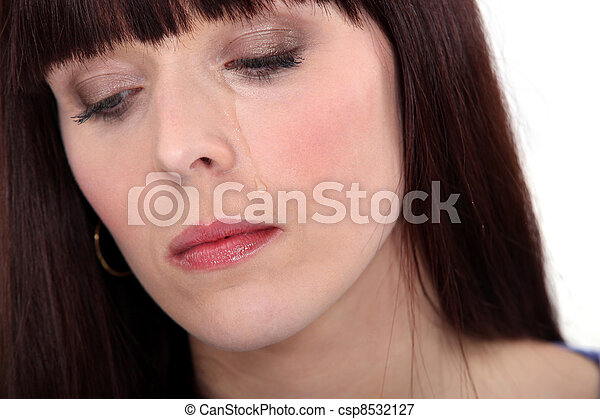Upset woman crying - csp8532127