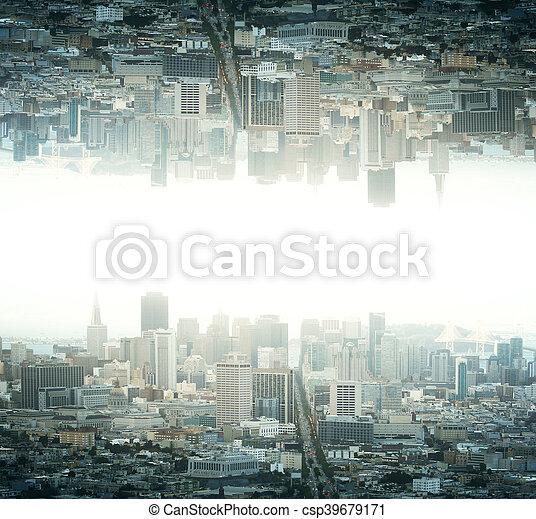 Upside down city - csp39679171
