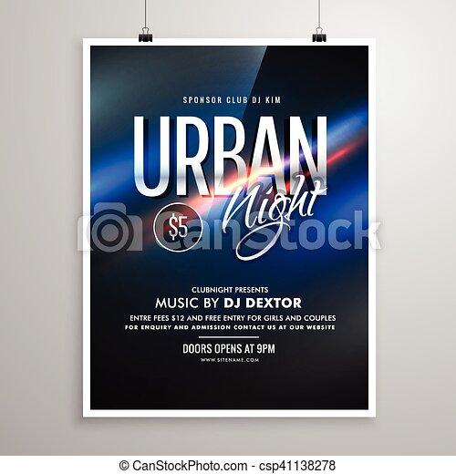urbain, affiche, aviateur, musique, gabarit, nuit - csp41138278