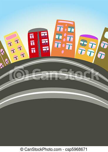 urbain, dessin animé, scène - csp5968671