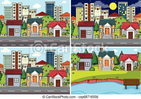urbain, ensemble, scène - csp68716556
