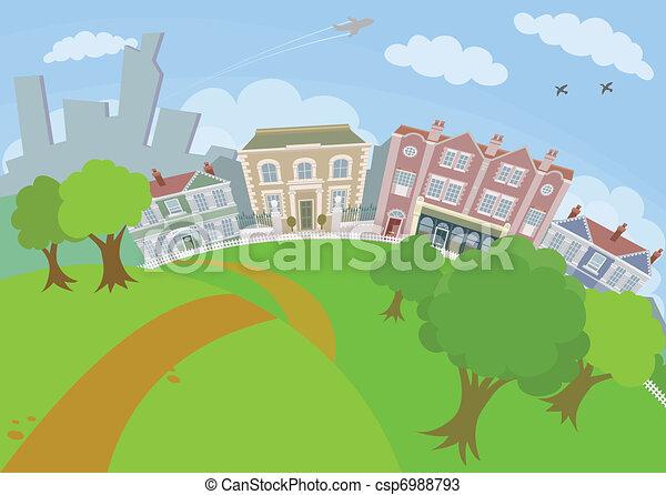 urbain, gentil, parc, scène, maisons - csp6988793