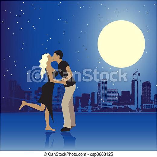 urbain, jour, scène, couple, valentin - csp3683125
